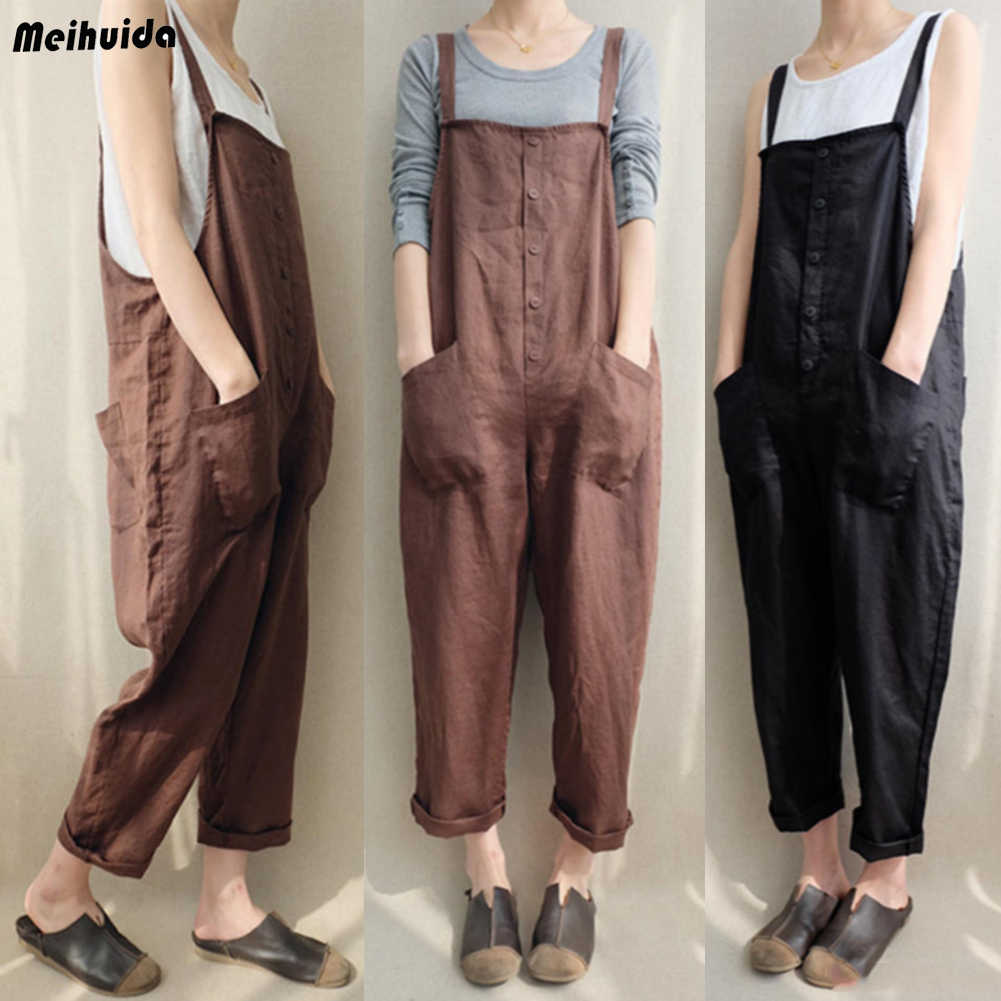 Women Casual Cotton Overalls Strap  Dungaree Oversized Loose Trousers