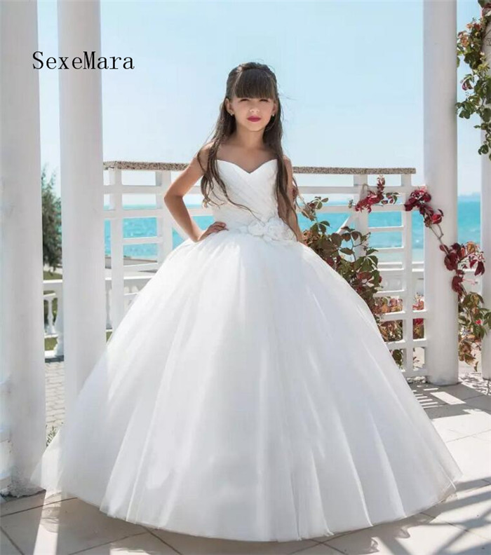 Princess Ball Gown Flower Girls Dresses For Wedding Sweetheart Sleeveless 3D Floral Flower Floor Length Communion Dresses trendy women s sweetheart neck sleeveless floral print knee length dress