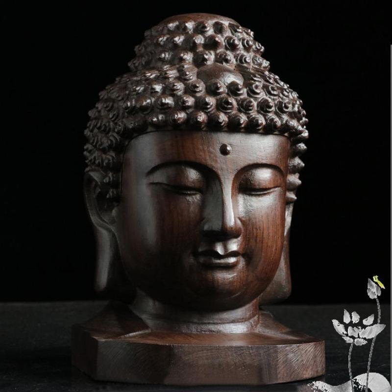 Buddha Head Wooden Figurine 3