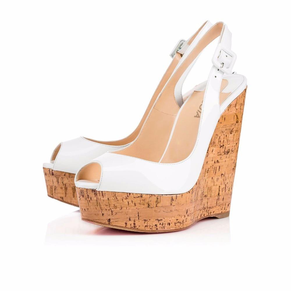 Plus Plate La Shiny Skyhigh De Gros forme Wedge Taille Slingback Mariée Peep Femmes White Sandales Pompes Blanc Brillant Mariage Cork Chaussures En Dames Toe HqxRv6