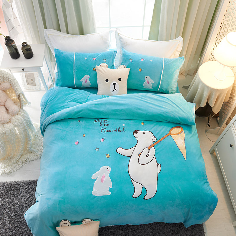 Winter Cartoon Bedding Set Fleece Fabric Duvet Cover Sets