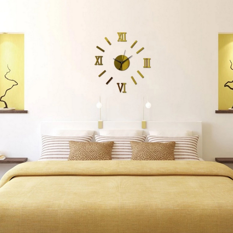 OOTDTY DIY Wall Clock 3D Acrylic Mirror Sticker Roman Numerals Removable Home Decor 3D Wallpapers For Living Room