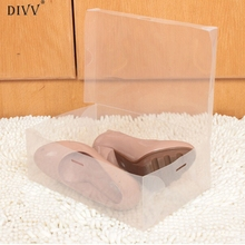 DIVV Happy Home 1PC Foldable Clear Shoes Storage Box Plastic Stackable Shoe Organizer