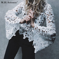 M H Artemis Sexy Lace Hollow Out Blouse Shirt Women Flare Sleeve White Blouse Female Tops