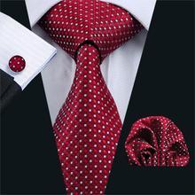 FA-709 Красный мужской галстук геометрический Шелковый жаккардовый галстук на шею галстук Hanky запонки набор галстуков для мужчин Бизнес Свадебная вечеринка