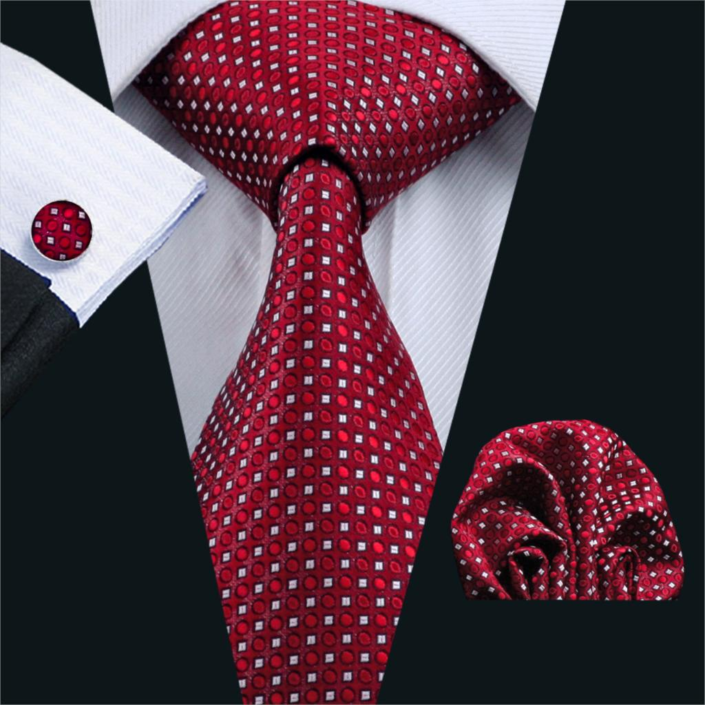 FA-709 Mens Tie Red Geometric Silk Jacquard Neck Tie Tie Hanky Cufflinks Set Ties For Men Business Wedding Party Free Shipping