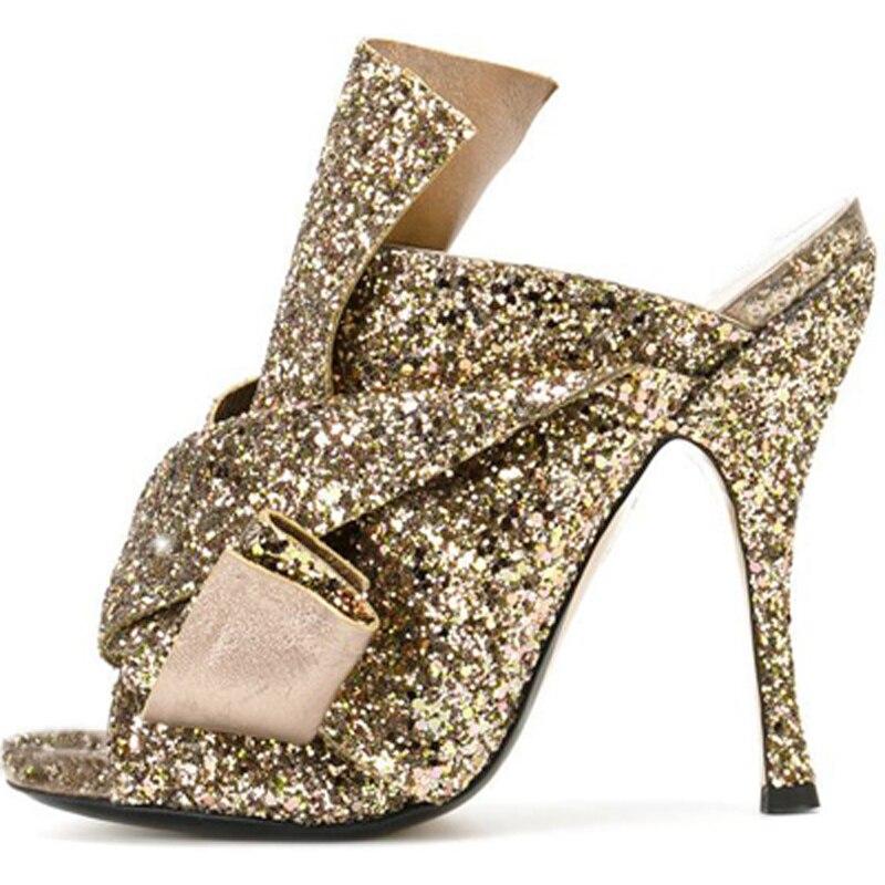 b21a3a744a0 Summer Ladies Bling Bling Bowtie Knot High Heels Slipper Sandals Woman Open  toe Glitter Sequins Stage