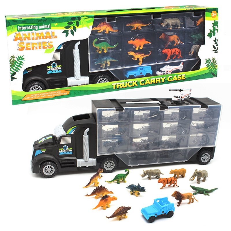 11pcs/lot Portable Plastic Container Truck Alloy Car Dinosaur Helicopter Model Toys Metal Cars toys for Children kid Gift