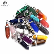 ROYALBEIER Natural Quartz Pendant Stone Hexagonal Pillar Pendants Necklace Tiger Eye Pendant Leather Chains Necklace Wholesale(China)