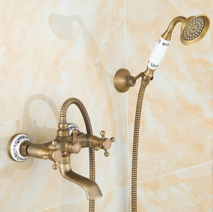 2016 Fashion Antique Brass Design Bathroom Shower Faucet Set / Wall Mounted  Ceramics Shower & Bathtub Mixer Tap sognare new wall mounted bathroom bath shower faucet with handheld shower head chrome finish shower faucet set mixer tap d5205