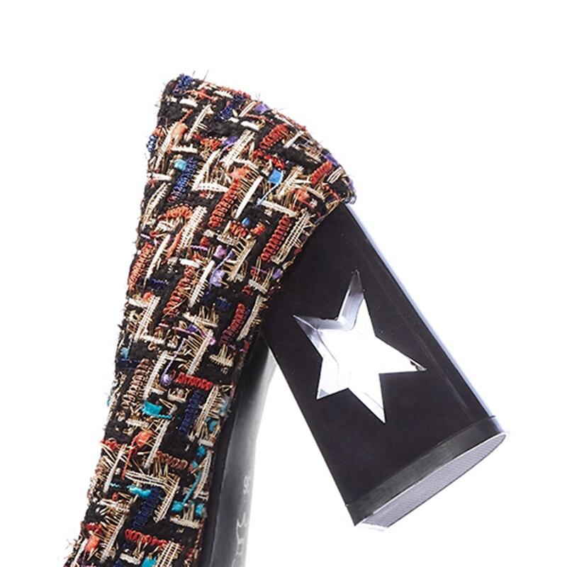 Treillis Carré Noir Plus Bloc Nouveau Talons Épais or Pompes Marque Damier 2018 Haute Bout Chaussures Beige Size Automne Party Designer zxqw8vO7
