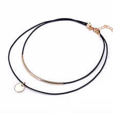 Gold Coin Double Leather Choker Necklace