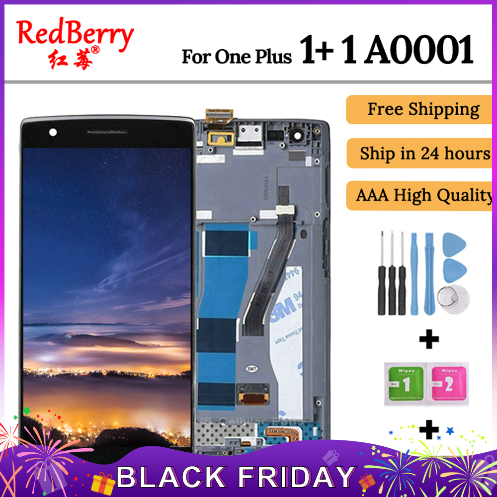For OnePlus One One Plus 1+ 1 A0001 Smartphone LCD Display Touch Screen Digitizer Full Assembly Replacement, Free Shipping