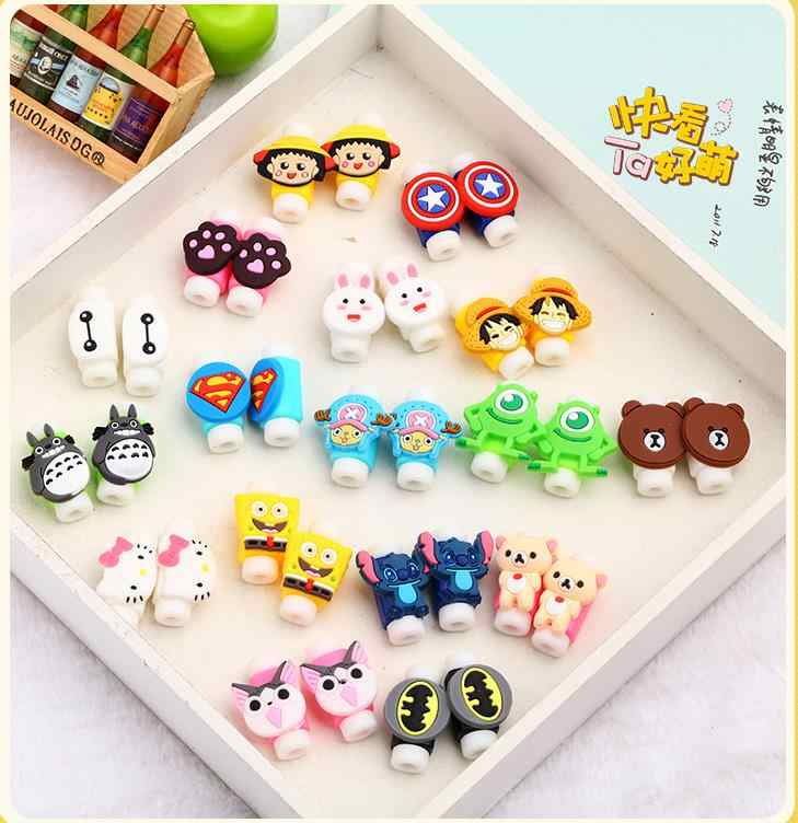 50Pcs Cartoon USB Cable Earphones Protector Colorful Cover Cable Winder Data Line Protection Sleeve For iPhone Xiaomi Huawei