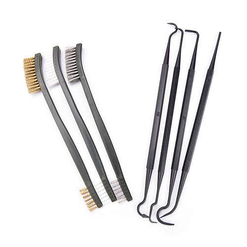 Double-end 3pcs Steel Wire Brush & 4pcs Nylon Pick Set Universal Hunting Gun Cleaning Kit Tactical Rifle Gun Cleaning Tool