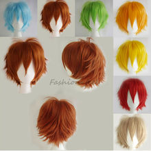 Cool Boys Cute Girls New Blue Green White Synthetic Short Wig Anime Cosplay Fancy Dress Full Head Wigs Free Shipping