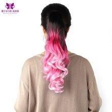 """Neverland 20 """"50 см Синтетический Коготь На Наращивание Волос Розовый Радуга Ombre Ponytails Волнистые Волосы Хвост"""