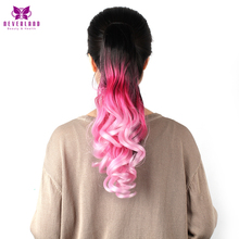 Neverland 20″ 50cm Synthetic Claw On Hair Extensions Pink Rainbow Ombre Ponytails Wavy Hair Tail