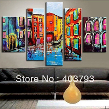 buy at disscount price Modern Abstract 5pc large  Oil Painting city on the water(no framed) (no free shipping