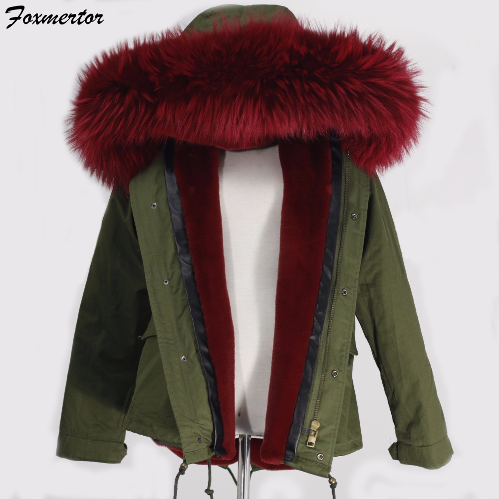 Foxmertor Women Parka 2016 Female Winter Jackets and Coats Real Raccoon Fur Collar Ladies Coat Thick Cotton Padded Lining #F254