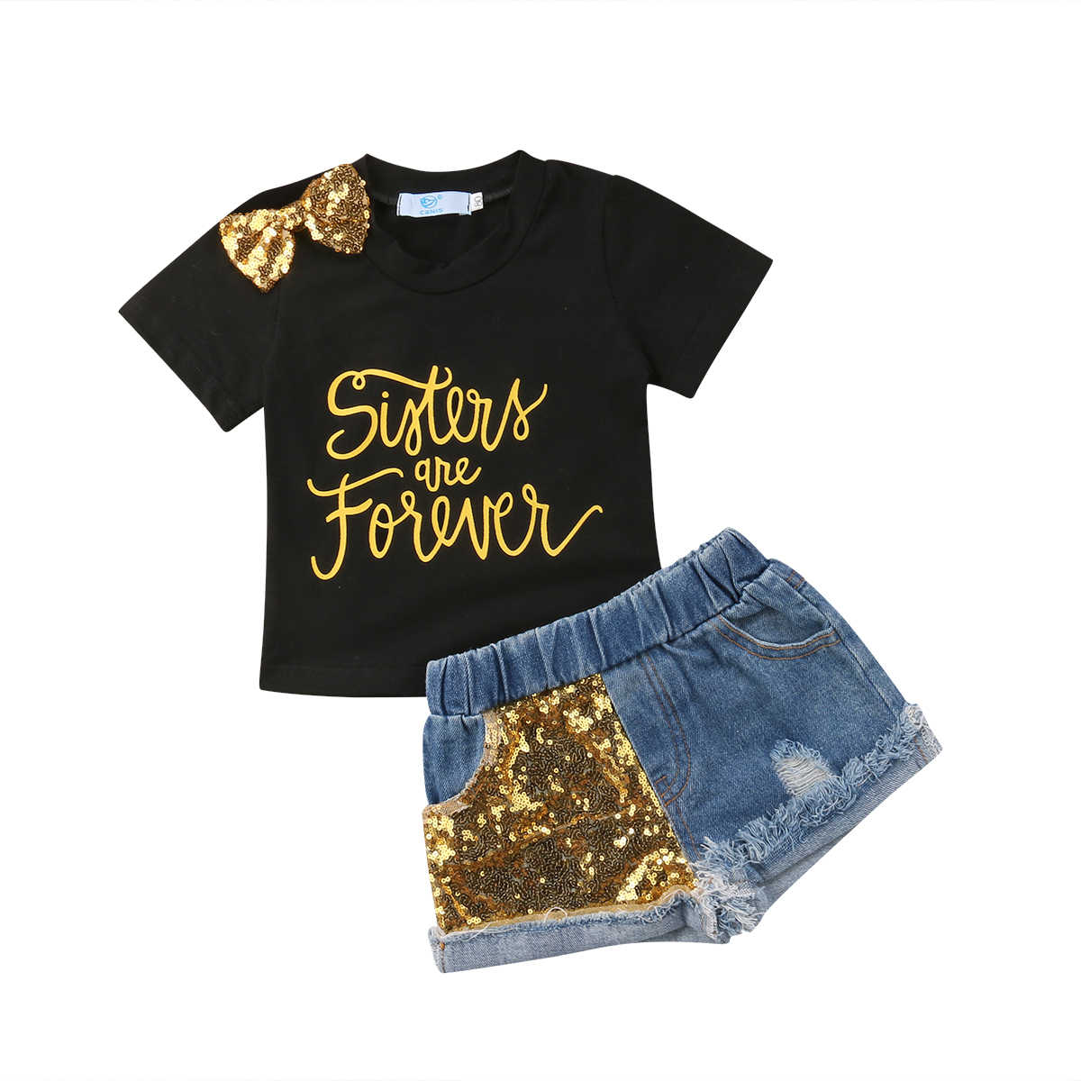 a27dcce460 2018 Kids Baby Girl Bowknot T-Shirts Black Top+Sequins Gold Shorts Denim  Jeans