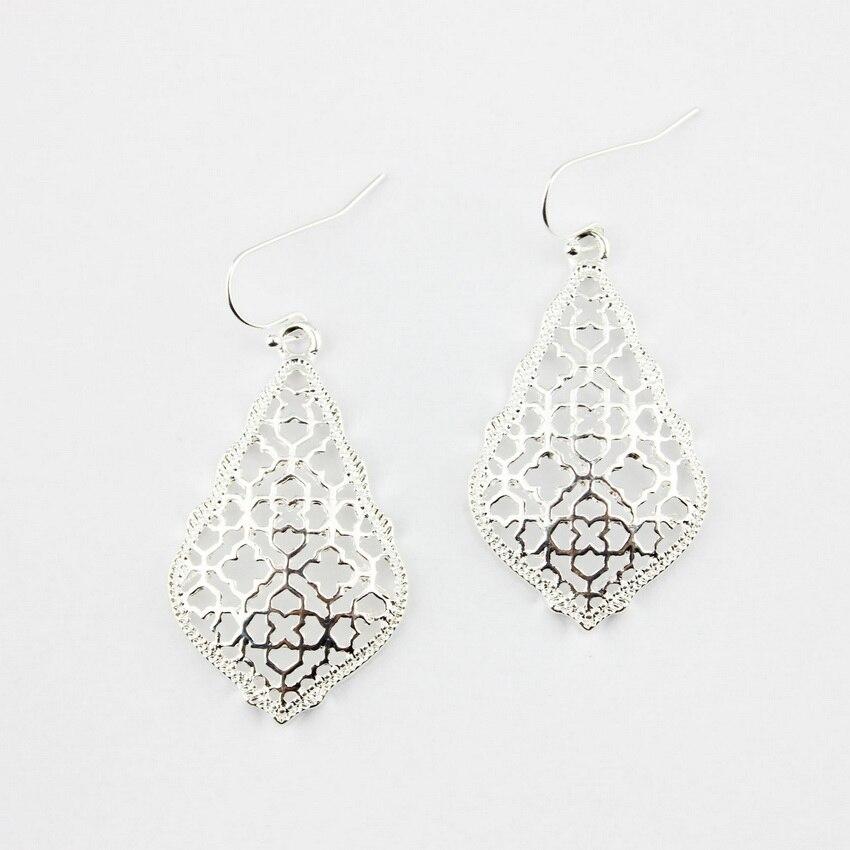 4 цвета,, хит, бренд, дизайнерские, вдохновленные, выдолбленные Висячие серьги-капли для женщин, серьги-капли с монограммой - Окраска металла: E2894 Silver