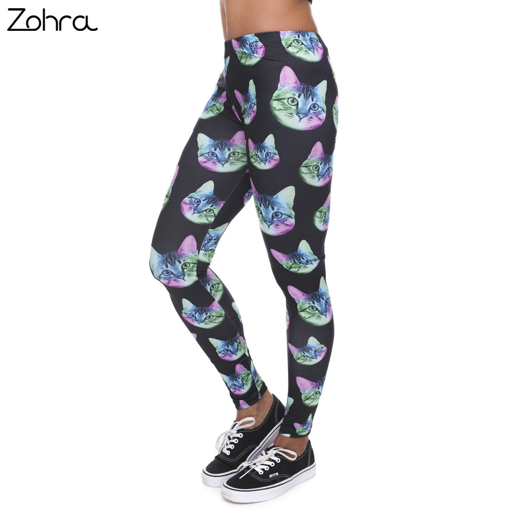 Zohra Fashion   Leggings   Women Neon Cat Black Printing Fitness   Legging   Silm Stretch Leggins High Waist Legins Trouser Casual Pants