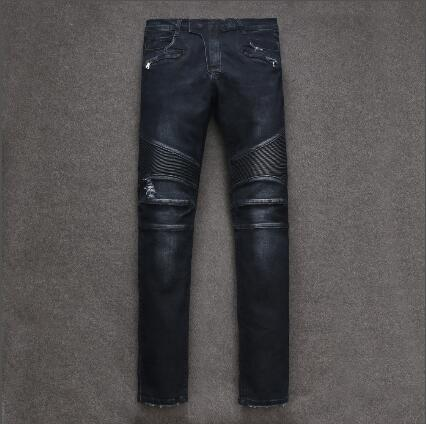 2018 New Men Jeans Runway Slim Racer Biker Jeans Fashion Hiphop Skinny Jeans For Men Denim Joggers Pants Male Y1012