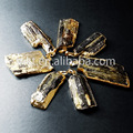 Hot !! Natural tourmaline stone  pendants,black pendants with gold plated(WT-P253)