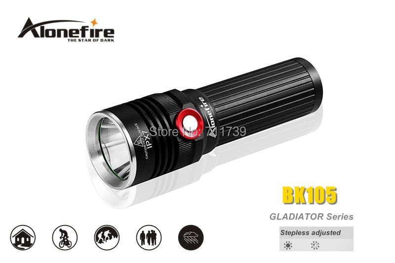 AloneFire GLADIATOR Series BK105 CREE XM-L2 LED 3 mode Stepless adjusted led flashlight torch For 1x18650 / 3x AAA batteries 950lm 3 mode white bicycle headlamp w cree xm l t6 black silver 2 x 18650