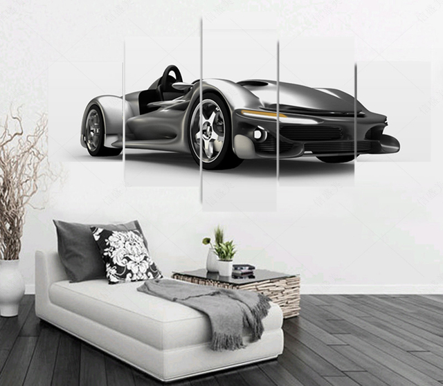 5 Piece Modern (No Frame) Silver grey Sports Car Picture Canvas Oil ...