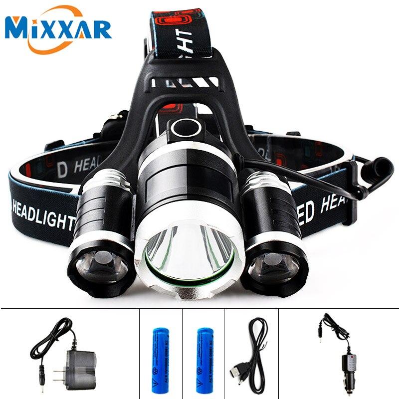 EZK20 LED 13000LM Cree XM-L T6 R5 Scheinwerfer Stirnlampe Angeln Licht Led-scheinwerfer + 2 stücke 18650 5000 mah Ladegerät + Kfz-ladegerät