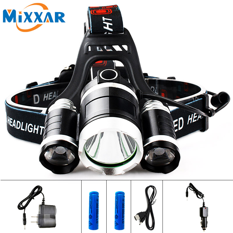 EZK20 LED 13000LM cree xm-l T6 R5 faro cabeza lámpara Pesca luz LED + 2 unids 18650 5000 Mah batería + cargador de coche