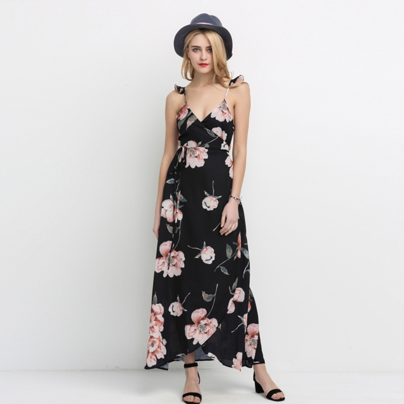 8136c5951b3cc HDY Haoduoyi Fashion Floral Print Dress Women Backless Split Maxi Dress  Deep V neck Sexy Party Dress Casual Bohemian Dresses-in Dresses from  Women's ...