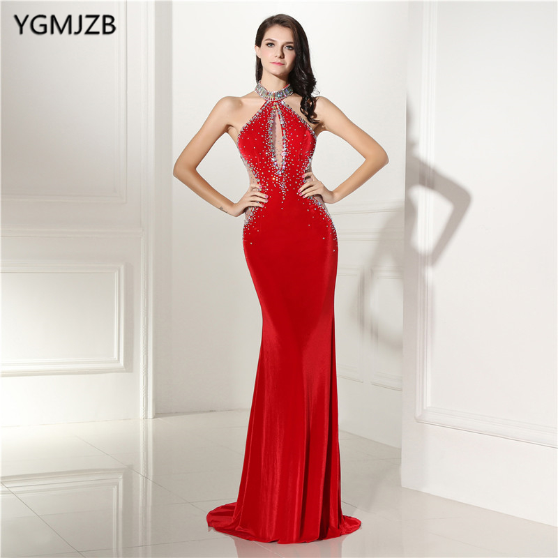 Backless Red   Evening     Dresses   Long 2018 Mermaid Velour Halter Beaded Gark Green Prom   Dresses   Formal   Evening   Party Gown