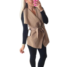 Women Autumn Winter Jackets Costs 2016 Fashion Women Vest Jacket Sleeveless Bandage Wasitcoat Female Warm Coat Outwear GV392