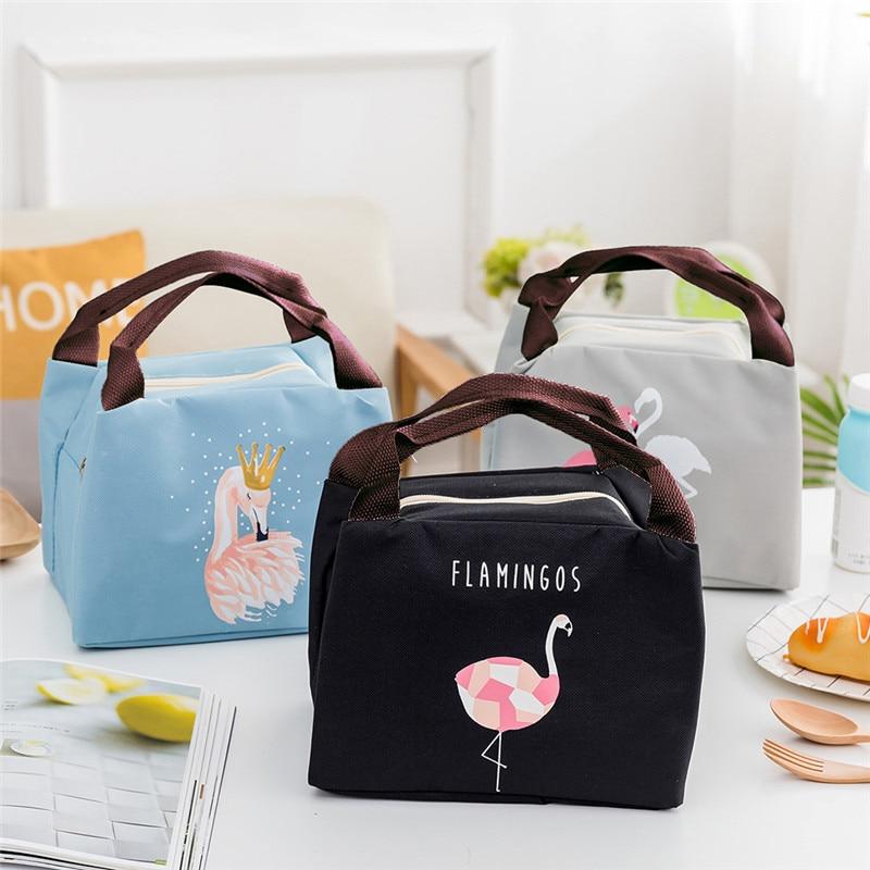 Cartoon Flamingos Print Lunch Bags Warm Waterproof Handbag Women Kid Picnic Bento Box Insulated Pack Drink with Zipper