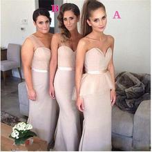2015 Long Bridesmaid Dresses Sweetheart Sashes Ruched Chiffon Mermaid Floor-Length Robe Demoiselle D'honneur Bridesmaid Dress