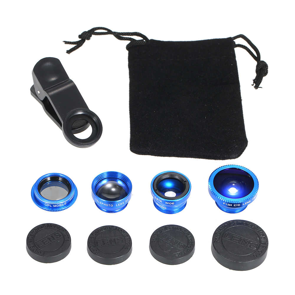 Universal Mobile Phone Lens 5 in 1 Fish Eye Ampia Angle Macro 2X Teleconverter CPL Lens Staccabile Clip-on Camera Lens Kit