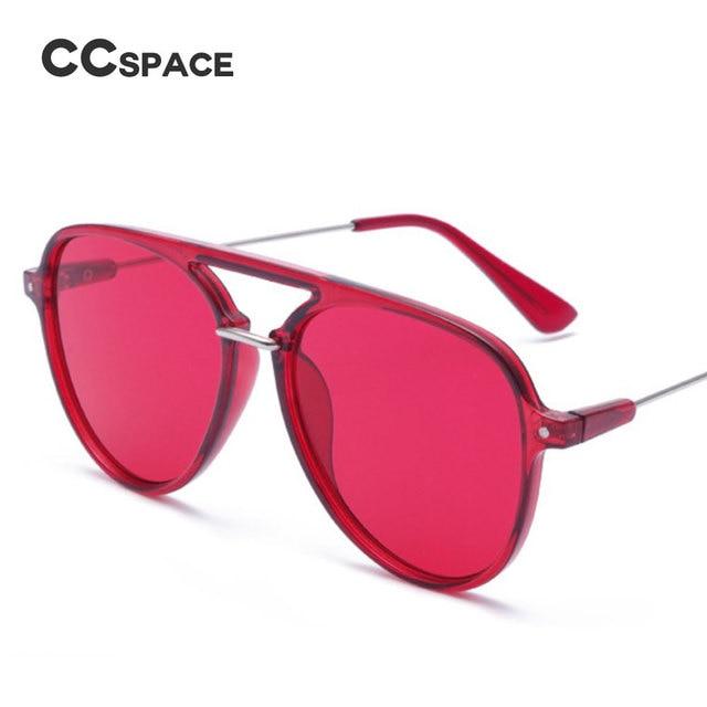 2983e62f60a CCSPACE 8 Colors Red pilot Sunglasses Men Women Transparent Frame Celebrity  Net Red 13C Brand Glasses Designer Eyewear 45485