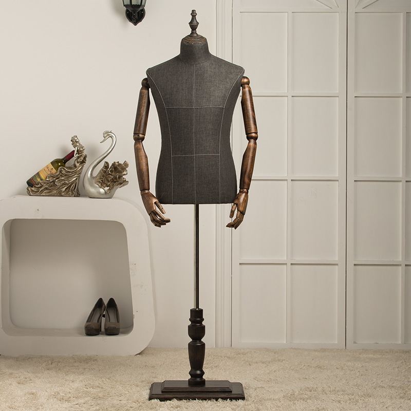 New Arrival Men Male Half Body Mannequin With Wood Arms Include Base mannequin