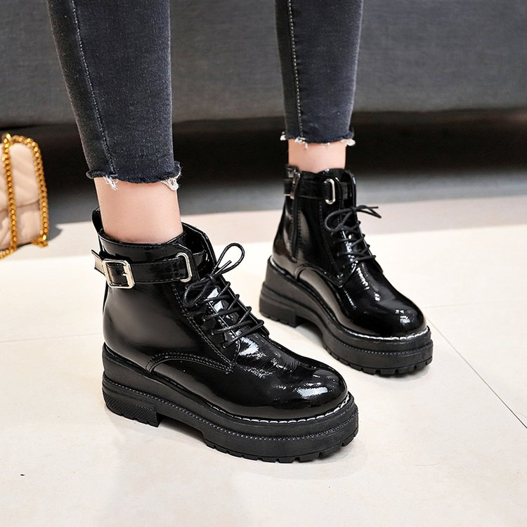 Image 3 - Aleafallling Women Boots Thicken Warm Winter Snow Boots Thicken Non slip Zip Girl's Leather Shoes For College Students AMBT199-in Ankle Boots from Shoes