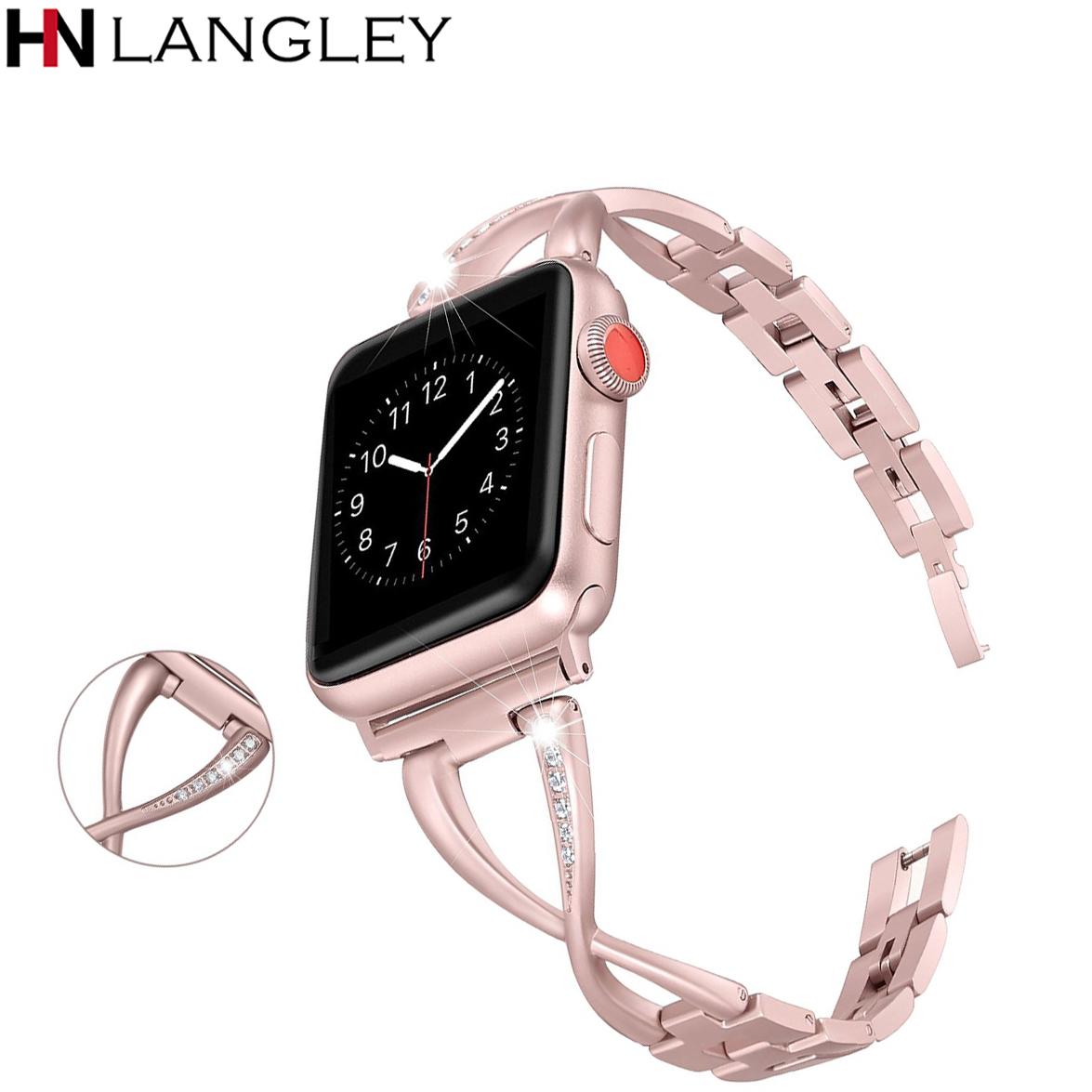 Luxury Rose Pink Watch band for Apple Watch Bands 38mm/42mm diamond Stainless Steel Strap for iwatch series 3 2 1 Bracelet 42mm 38mm for apple watch s3 series 3