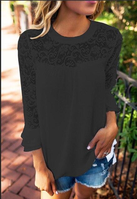 White Lace Women T Shirt Tops 3