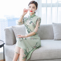 2019 summer improved short sleeve chinese lady daily dress print flower velvet cheongsam vestidos split qipao chinese dress