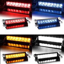castaleca Car Led Emergency Strobe Flash Warning Light 12V 8 Led Flashing Lights Red Blue White