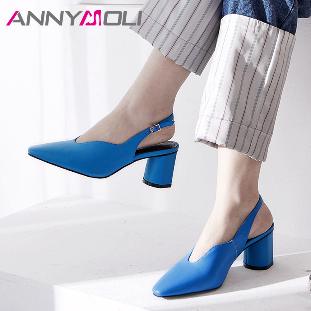ANNYMOLI Women Slingbacks Shoes High Heels Natural Genuine Leather Block Heels Shoes Real Leather Square Toe