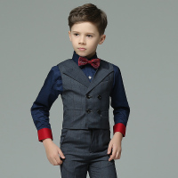 Toddler Boys 4pcs Set Pure Color Summer Long Sleeve Red Bowtie Decor Fashion Wedding Groom Show