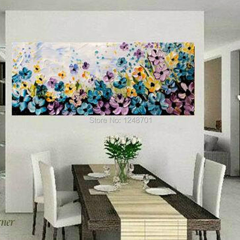 Hand painted modern home decor wall art picture color flower palette thick font b knife b