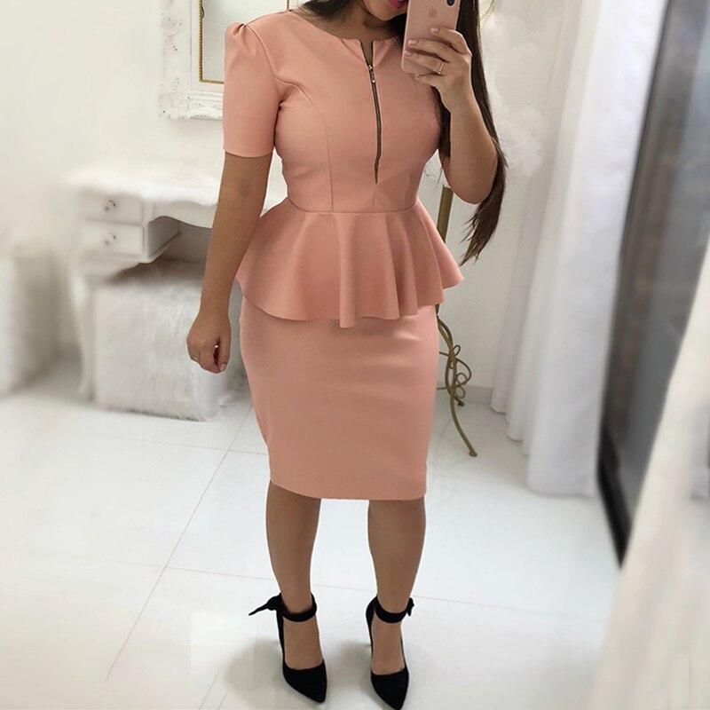 2a14e6cb 2018 Women Fashion Summer Women Elegant Office Workwear Formal Party Dress  Female Solid Zipper Up Front Peplum Bodycon Dress -in Dresses from Women's  ...
